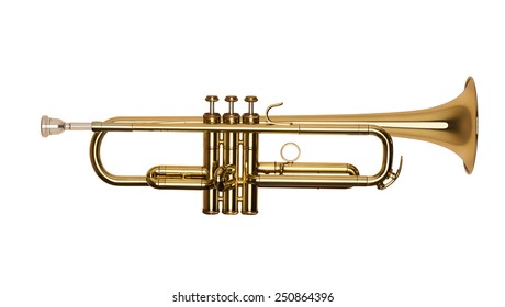 golden brass trumpet in soft light isolated on white background