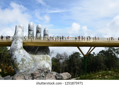 The Golden Bridge is along pedestrian bridge in the Ba Na Hills resort, near Da Nang, Vietnam. On 18 October 2018
