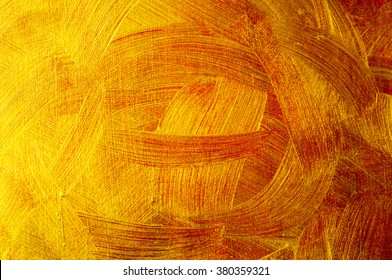 Golden and bronze paint brush stroke texture background