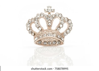 golden brooch crown isolated on white