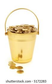 Golden bucket of money.
