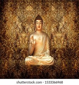 GOLDEN BUDDHA 3D WALLPAPER FOR WALLS