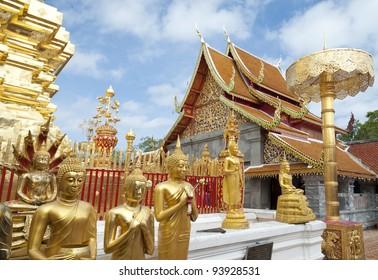 Golden Buddha figure Wat Phra Doi Tung Chiang Mai Thailand