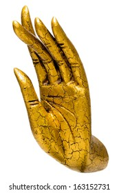 Golden Buddha hand statue isolated, handcrafts