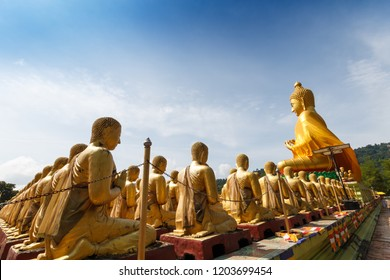 the golden buddha image, Thai people built many gold buddha statues in central of Thailand. Buddha image is a symbol of Buddhist to pay respect.