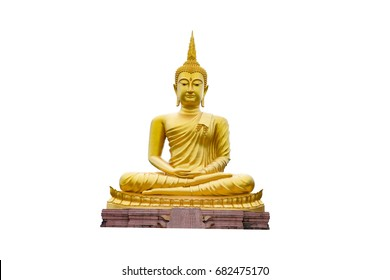 Golden Buddha images isolate on white bacground