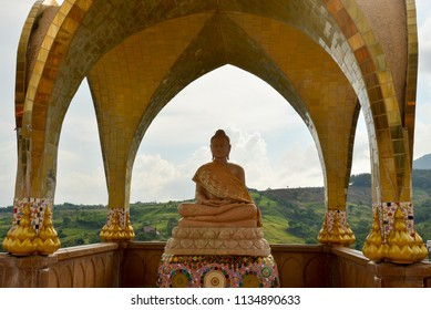 Golden Buddha Meditating under the Dome, Popular Tourist Attraction in holiday, Phetchabun, Thailand,16 July 2018.