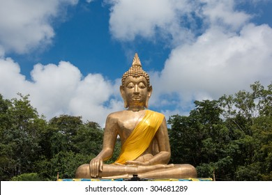 Golden Buddha  on blue sky, Thailand