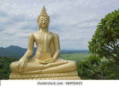 Golden Buddha on the hill Thailand