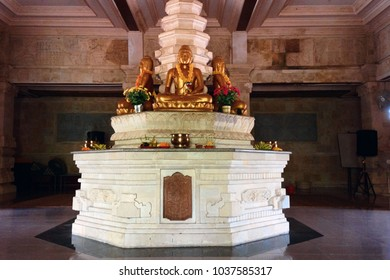 Golden Buddha Statue At Buddhist Temple Meditation Room At Brahmavihara Arama, North Bali, Indonesia