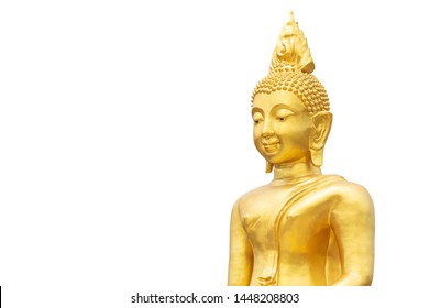golden Buddha statue isolated with clipping paths