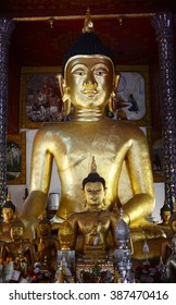 Golden buddha statue. Thai style. gold