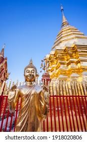 Golden Buddha statue at Wat Phra That Doi Suthep (Chiang Mai, Thailand)