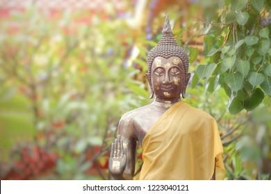 Golden Buddha statues sitting under Bo leaf and blurred background