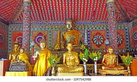 Golden Buddha statute, Northern Thailand. Selective focus.