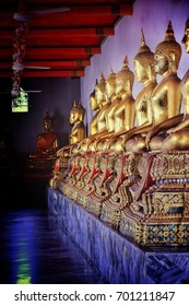 golden Buddha in temple on holy day