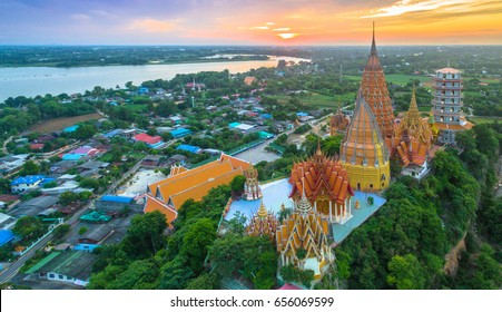 golden Buddha,chedi,temple,pagodas and  Thai architecture building on hilltop. the most beautiful top ten of temples in Thailand