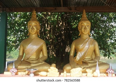 Golden buddharupa at buddhist temple in vientiane,LAO