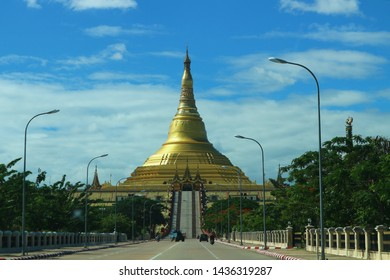 Golden Buddhism pagoda in Nay Pti Taw, Myanmar, namely Uppatasanti Pagoda