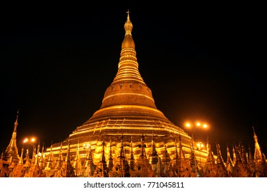The golden buddhist pagoda or stupa of Shwedagon Pagoda at night time,Yangon, Myanmar.