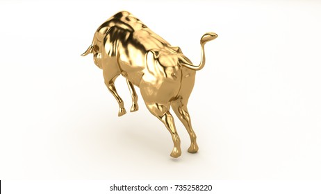 A golden bull. Statue on a white background. 3d render.