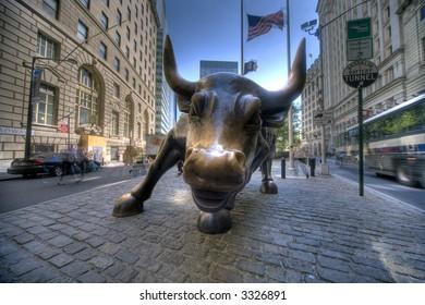 Golden Bull - symbol of wall street ,Manhattan,new York,United states of America