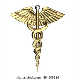 Golden Caduceus Medical Symbol. 3D rendering with white background.