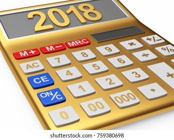 Golden calculator with the numbers 2018 on the display isolated on white background. 3D illustration