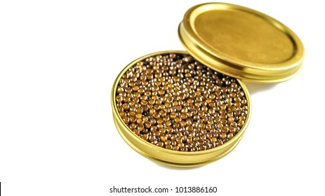 Golden can of black sturgeon caviar isolated on white