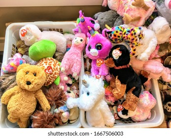 Golden, Canada - February 20th, 2020: A basket full of the popular Ty stuffed animals that are sold all over the world, including a toy store in Golden, British Columbia, Canada.
