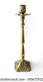 Golden candlestick on white background / Golden vintage candlestick