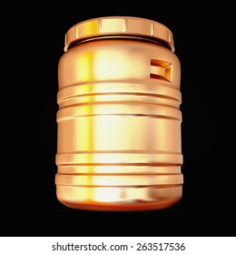 Golden canister  on grey ba?kground. High resolution.