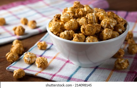 a lot of golden caramel corn close up