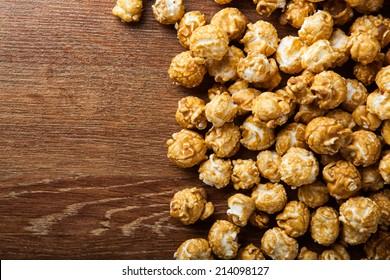 a lot of golden caramel corn close up background