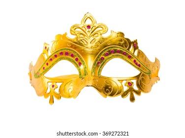 Golden carnival mask on a white background