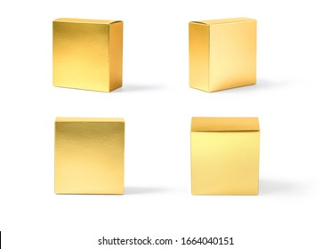 golden carton box isolated on white with clipping path