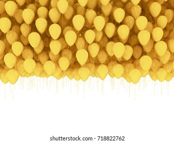 Golden celebration background. Group of gold balloons isolated on white background. 3d render