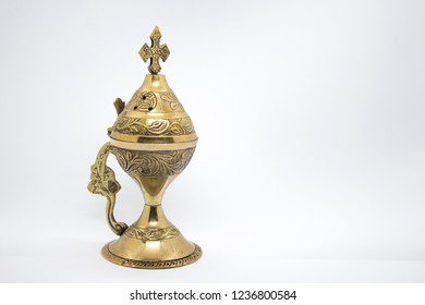 Golden Censer on white background