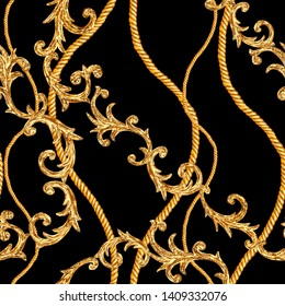 Golden chain glamour seamless pattern. Watercolor hand drawn fashion texture with gold chains and baroque style elements on black background.
