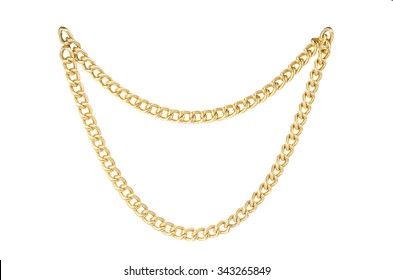 Golden chain. Isolated on white background