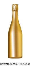 Golden champagne bottle isolated on white background