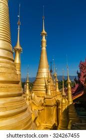 Golden chedis at the Shwe Inn Tain Pagoda