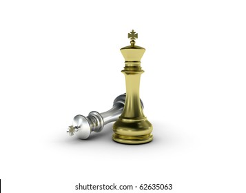 Golden chess king standing leadership