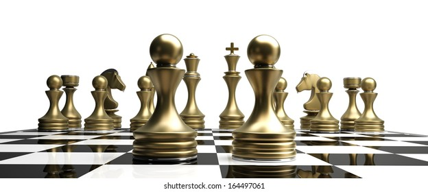 golden chess pawns isolated on white background High resolution 3d