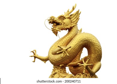 Golden chinese dragon isolated on white background