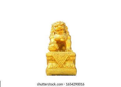 Golden chinese lion statue on white background