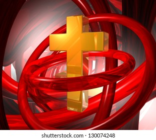 golden christian cross in abstract space - 3d illustration