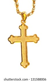 golden christian crosses with chain  isolated on white background