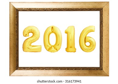 Golden Christmas 2016 sign made of inflatable balloons in wooden frame isolated on white background