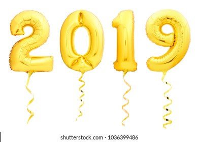 Golden Christmas 2019 balloons made of inflatable balloon with golden ribbon isolated on white background